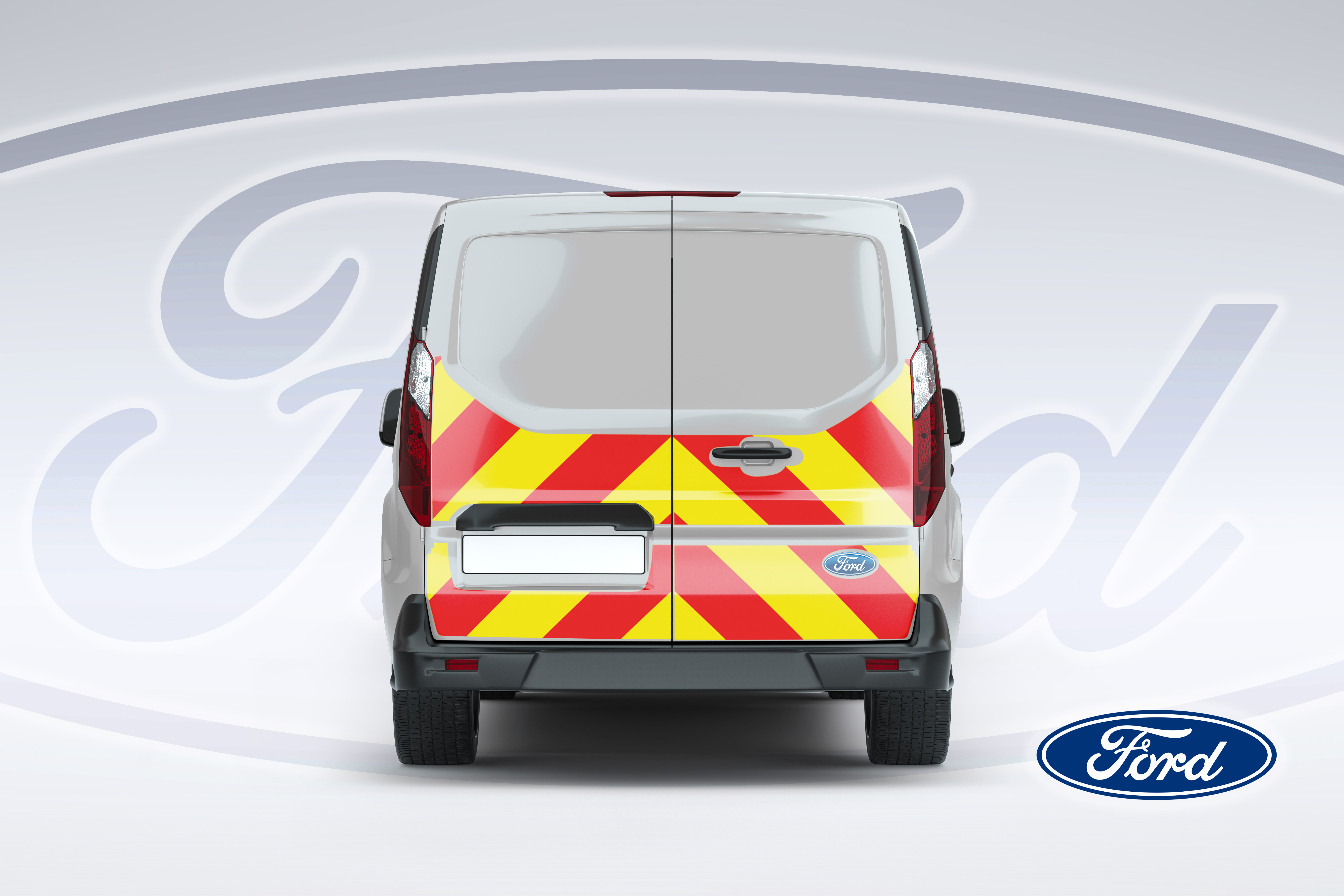 Pic showing reverse of Ford Connect van with IM illuminated chevrons fitted