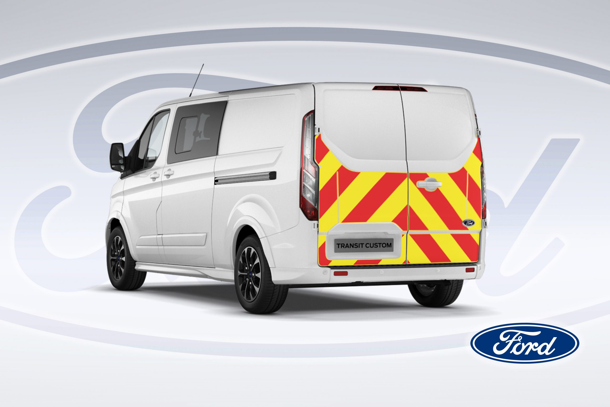 Pic showing an angled back view of Ford Transit Custom van with IM illuminated chevrons fitted
