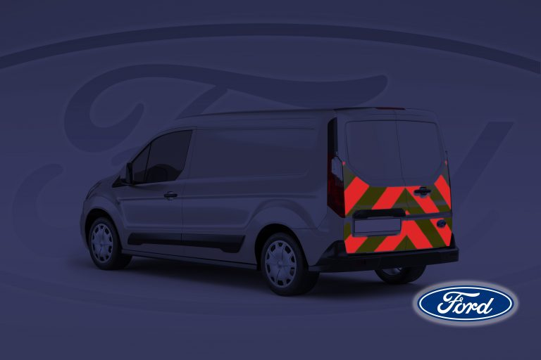 Pic showing Ford Connect van with IM Red illuminated chevrons switched on