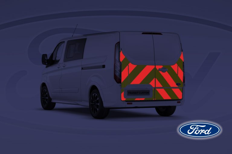 Pic showing a Ford Transit Custom van with IM Red illuminated chevrons switched on