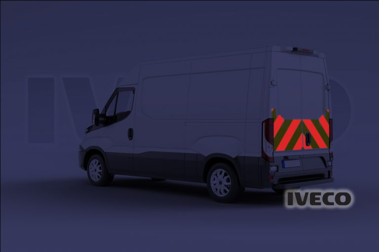 Pic showing an Iveco Daily with IM Red illuminated chevrons switched on