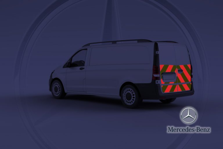 Pic showing Mercedes Vito split door with IM Red illuminated chevrons switched on