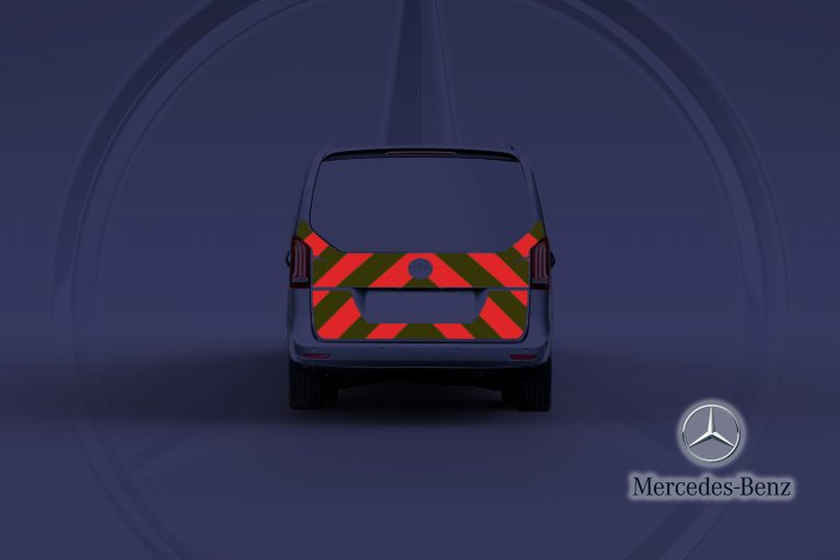 Pic showing a Mercedes Vito full tailgate with IM Red illuminated chevrons switched on