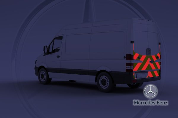Pic showing Mercedes Sprinter van with IM Red chevrons switched on