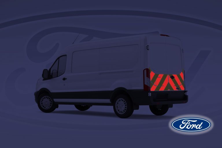 Pic showing Ford Transit with IM Red illuminated chevrons switched on