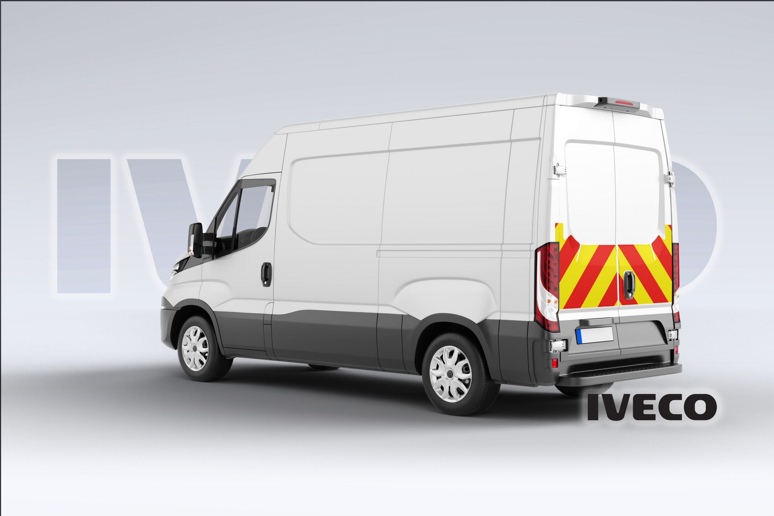 Pic showing angled back view of an Iveco Daily with IM illuminated chevrons fitted