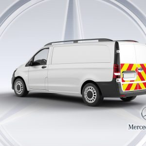 Pic showing an angled back view of a Mercedes Vito van with IM illuminated chevrons fitted