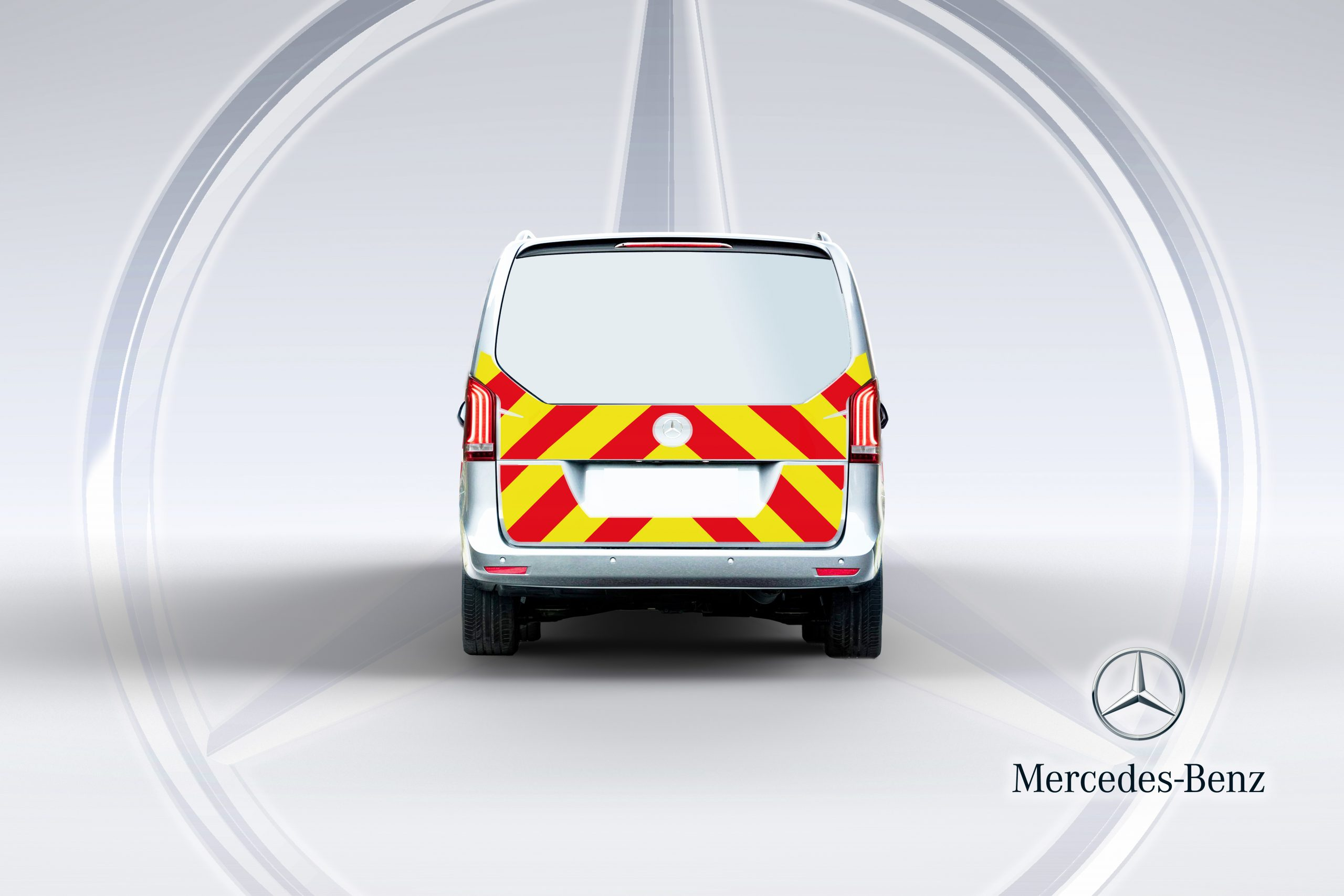 Pic showing reverse of a Mercedes Vito van tailgate opening with IM illuminated chevrons fitted