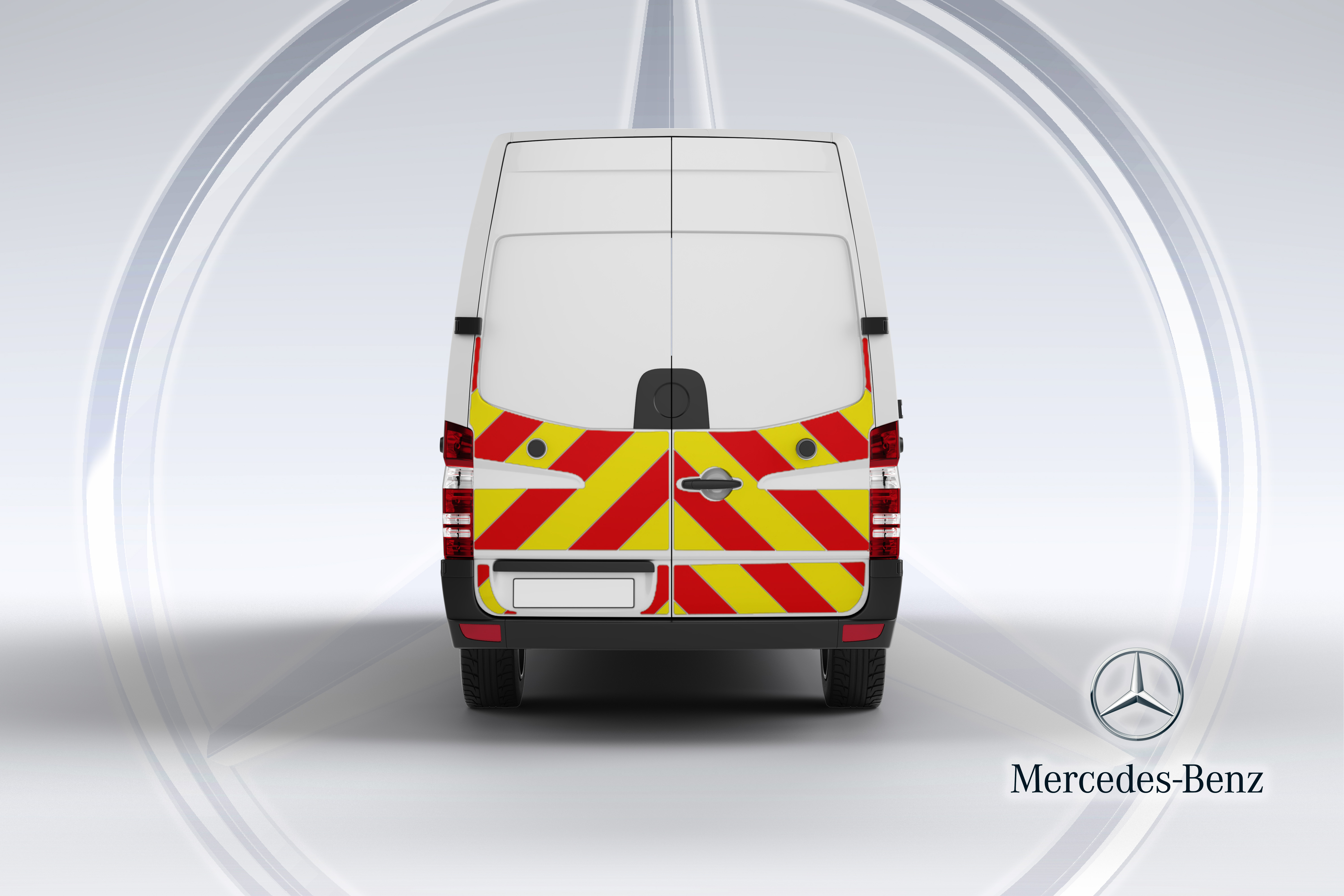 Pic showing the back of a Mercedes Sprinter van with IM illuminated chevrons fitted