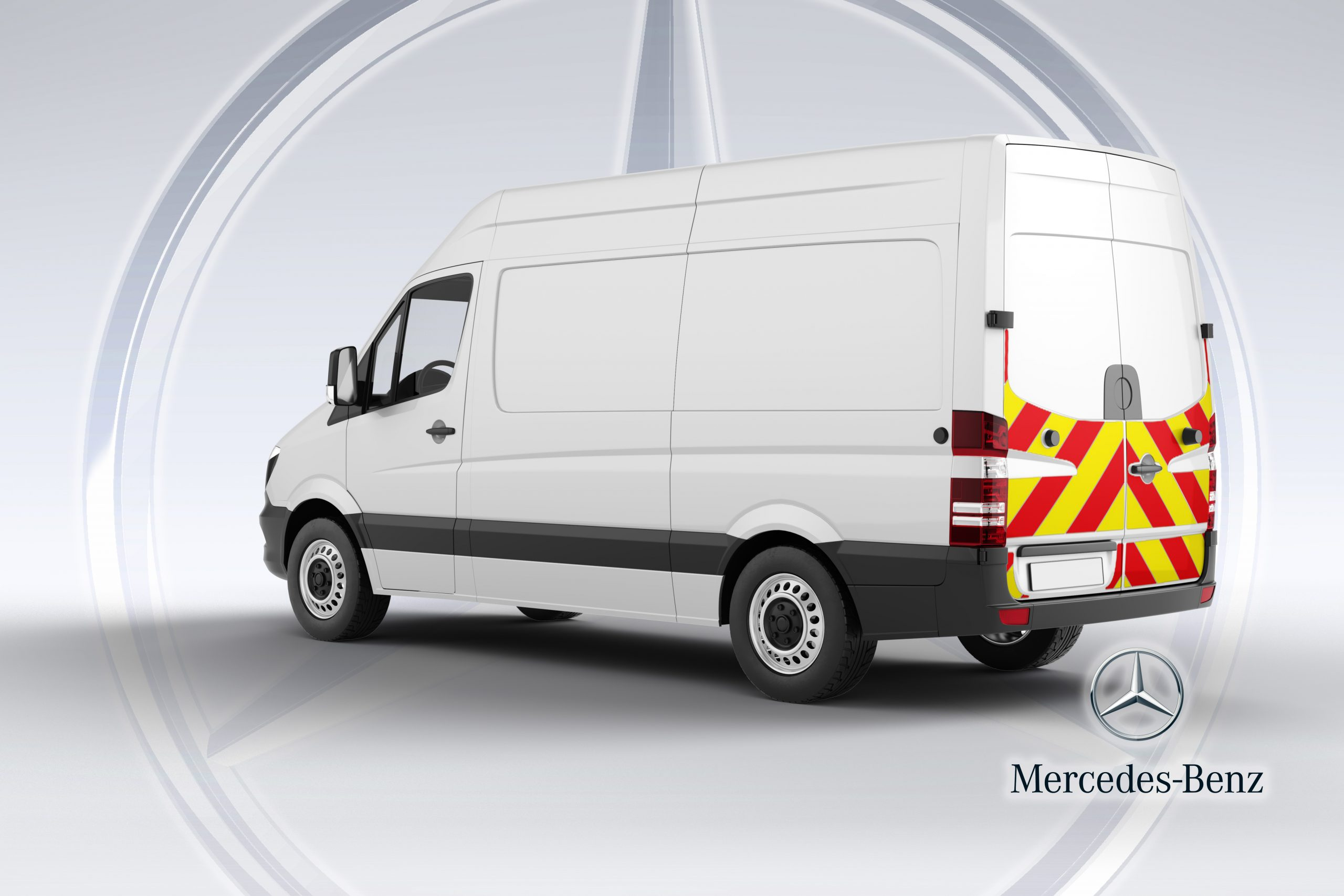 Pic showing the angled back of a Mercedes Sprinter van with IM illuminated chevrons fitted