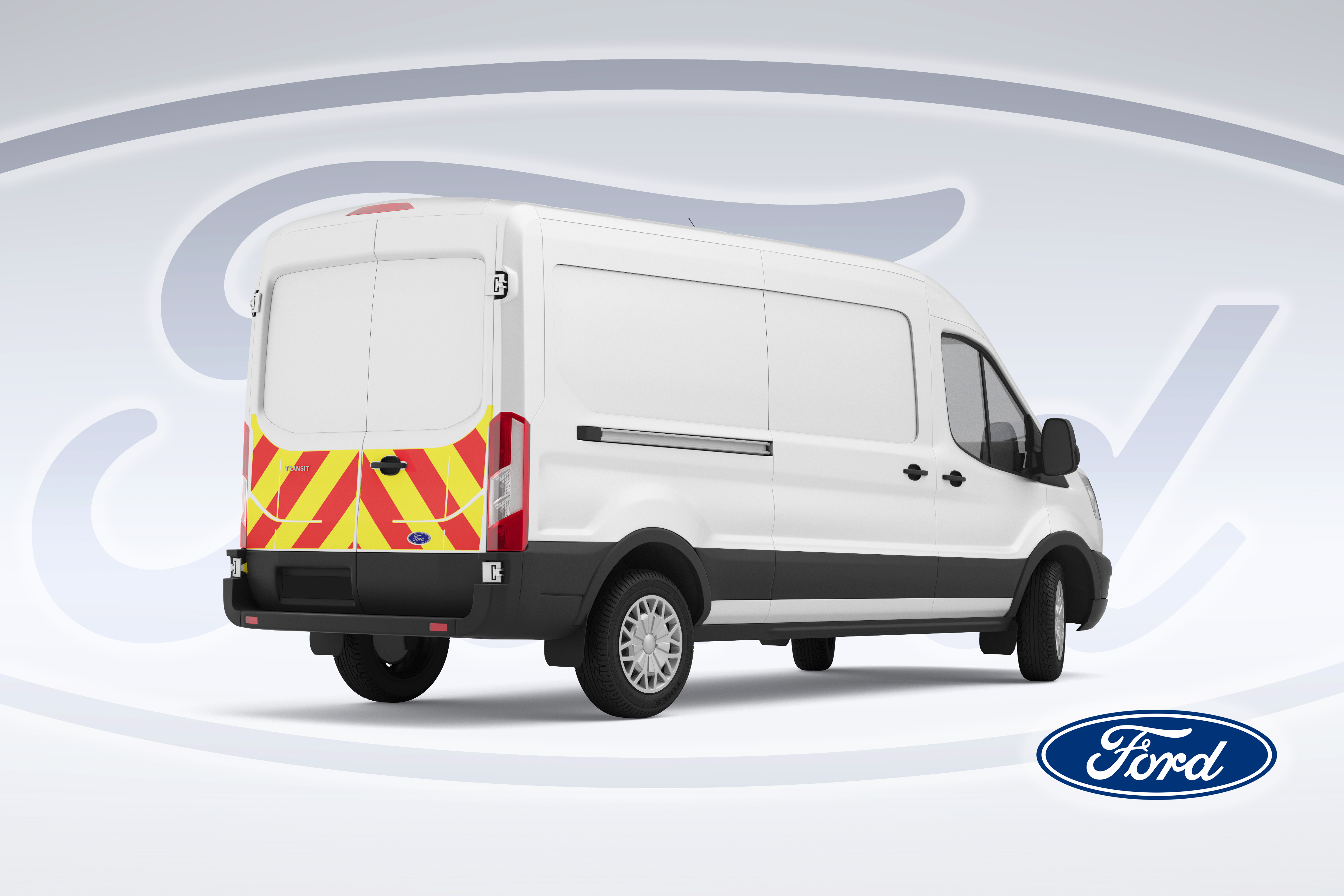 Pic showing view of angled back right of a Ford Transit with IM Illuminated chevrons fitted