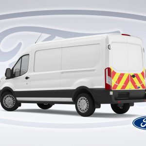 Pic showing an angled back view of Ford Transit with IM illuminated chevrons fitted
