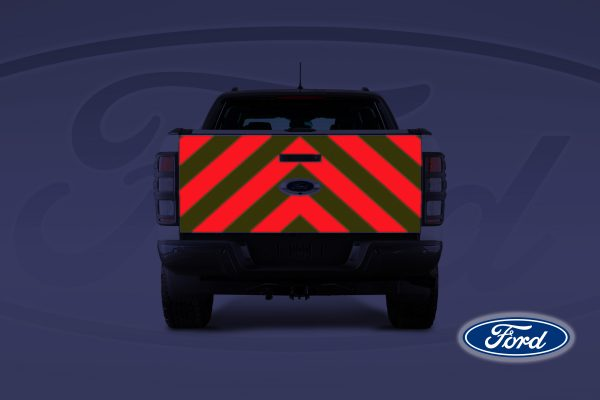 Pic showing Ford Ranger with IM Red illuminated chevrons on