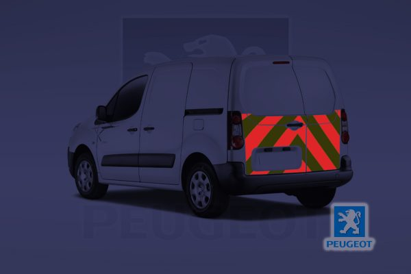Pic showing a Peugeot Partner van with IM Red illuminated chevrons on