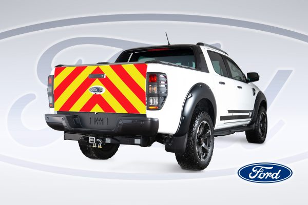 Pic showing the angles back of a Ford Ranger with IM Red illuminated Chevrons fitted