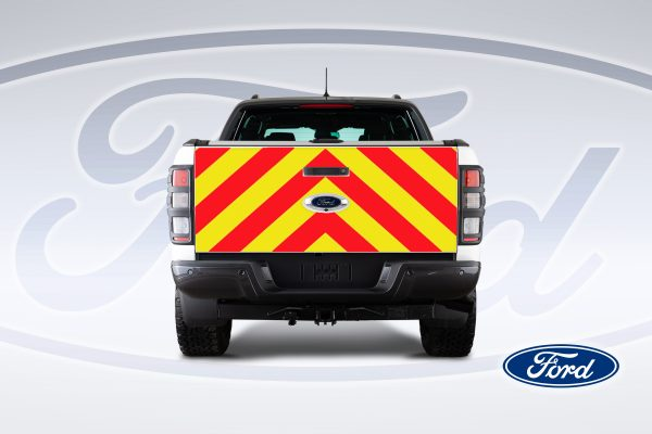 Pic showing a back view of a Ford Ranger with IM Red illuminated chevrons fitted