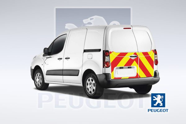 Pic showing the Peugeot Partner van with IM Red illuminated chevrons fitted
